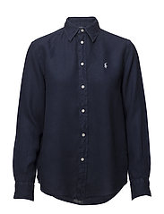 Relaxed Fit Linen Shirt - CRUISE NAVY