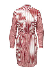 Striped Cotton Shirtdress - TOMATO/WHITE STRI