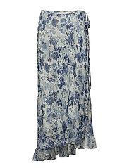 Floral Crinkle Silk Wrap Skirt - WATERCOLOR FLORAL