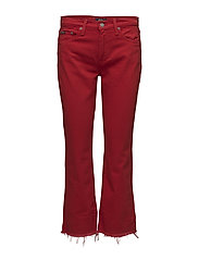 The Chrystie Kick Flare Crop - RED