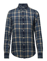Classic Fit Cotton Plaid Shirt - 835 INDIGO/RED