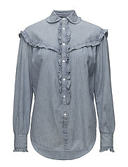 Ruffle-Trim Denim Shirt - INDIGO