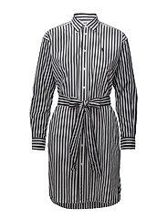 Striped Cotton Shirtdress - 875 BLACK MULTI S
