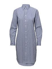 Monogram Cotton Shirtdress - 2517 ROYAL BLUE/W