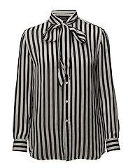 Striped Silk Neck-Tie Blouse - 800 BLACK/TROPHY