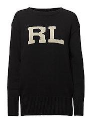 RL Cotton Crewneck Sweater - BLACK/CREAM
