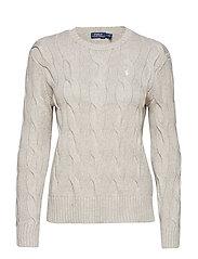 Cable-Knit Cotton Sweater - LIGHT VINTAGE HEA
