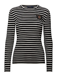 Bullion-Patch Striped Top - BLACK/CREAM