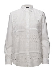 Eyelet Cotton Poplin Shirt - WHITE