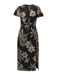 Floral Linen-Blend Dress - HAWAIIAN FLORAL