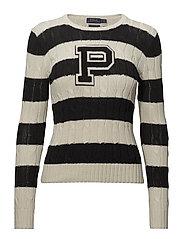 Patch Striped Cotton Sweater - CREAM/POLO BLACK