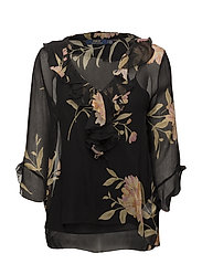 Ruffled Floral Silk Blouse - DUSKY BLUSH FLORA