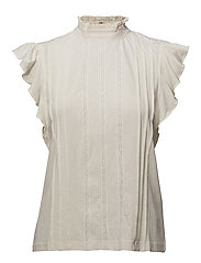Band-Collar Ruffled Cotton Top - ANTIQUE CREAM