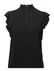 Band-Collar Ruffled Cotton Top - POLO BLACK
