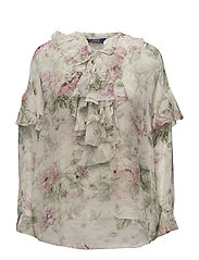 Floral Lace-Up Silk Blouse - SONOMA FLORAL