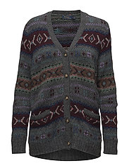 Fair Isle Wool Cardigan - GREY MULTI
