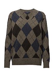 Argyle Wool V-Neck Sweater - GREY MULTI