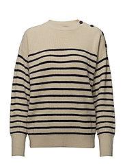 Button-Shoulder Wool Sweater - CREAM/NAVY