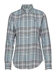 Classic Fit Plaid Cotton Shirt - 902 MEDIUM BLUE/