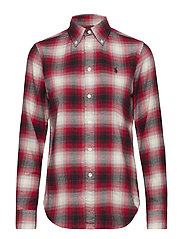 Classic Fit Plaid Twill Shirt - 909 BLACK/RED