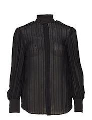 Jacquard-Stripe Silk Blouse - POLO BLACK