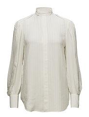 Jacquard-Stripe Silk Blouse - TROPHY CREAM