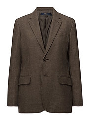 Houndstooth Tweed Blazer - BROWN/CAMEL HOUND
