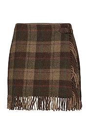 Fringe-Trim Plaid Wool Skirt - PLAID MULTI