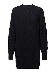 Aran-Knit Wool Sweater Dress - NAVY
