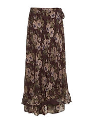 Floral-Print Silk Maxiskirt - BURGUNDY FLORAL