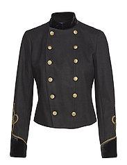 Velvet-Trim Military Jacket - POLO BLACK