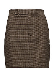 Houndstooth Tweed Miniskirt - BROWN/CAMEL HOUND