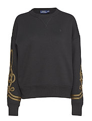 Bullion-Trim Fleece Pullover - POLO BLACK