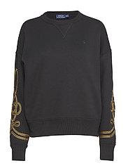 Bullion-Trim Fleece Pullover - POLO BLACK
