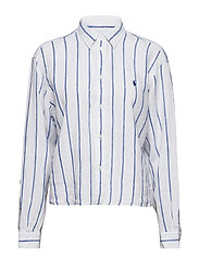 LINEN STRIPES-LSL-SHT - 958 WHITE/ROYAL