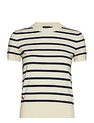 Striped Short-Sleeve Sweater - DARK CREAM/BRIGHT