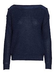 Button-Shoulder Linen Sweater - HUNTER NAVY