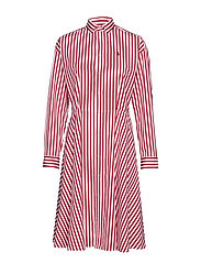 Cotton Broadcloth Shirtdress - 955A RED/ WHITE