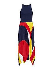 Pleated Georgette Dress - NAVY MULTI
