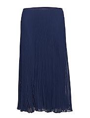 Pleated Georgette Midi Skirt - CRUISE NAVY