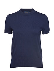 Cotton Short-Sleeve Sweater - BRIGHT NAVY