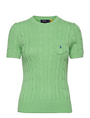 Cable Short-Sleeve Sweater - BUD GREEN