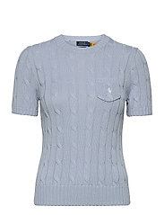 Cable Short-Sleeve Sweater - PALE BLUE