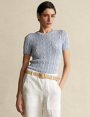 Polo Ralph Lauren - Cable Short-Sleeve Sweater - strikkede toppe - pale blue - 0
