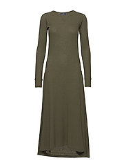 Waffle-Knit Henley Dress - DEFENDER GREEN