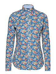 Print Knit Cotton Oxford Shirt - BLUE FLORAL
