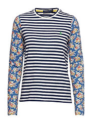 Print Cotton Long-Sleeve Tee - RUSTIC NAVY/NEVIS