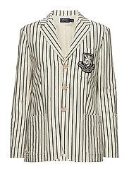 Striped Patch Cotton Blazer - WINTER CREAM/POLO