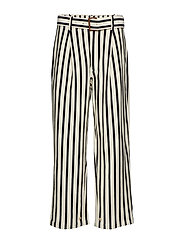 Striped Cotton Wide-Leg Pant - WINTER CREAM/POLO
