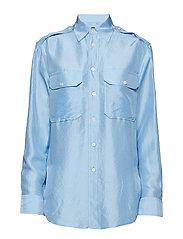Silk Military Shirt - BLUE LAGOON
